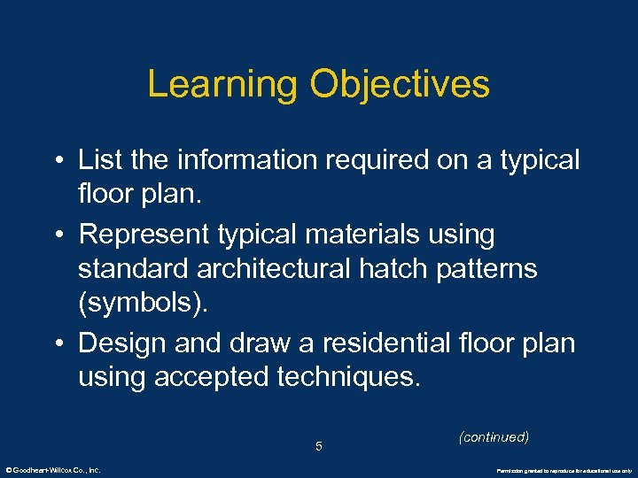 Learning Objectives • List the information required on a typical floor plan. • Represent