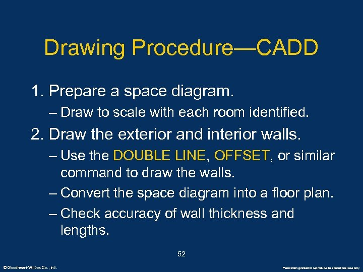 Drawing Procedure—CADD 1. Prepare a space diagram. – Draw to scale with each room