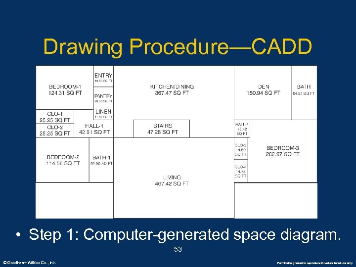 Drawing Procedure—CADD • Step 1: Computer-generated space diagram. 53 © Goodheart-Willcox Co. , Inc.