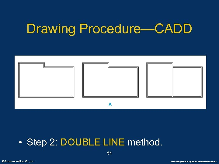 Drawing Procedure—CADD • Step 2: DOUBLE LINE method. 54 © Goodheart-Willcox Co. , Inc.