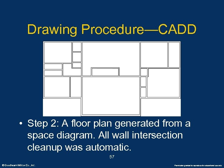 Drawing Procedure—CADD • Step 2: A floor plan generated from a space diagram. All
