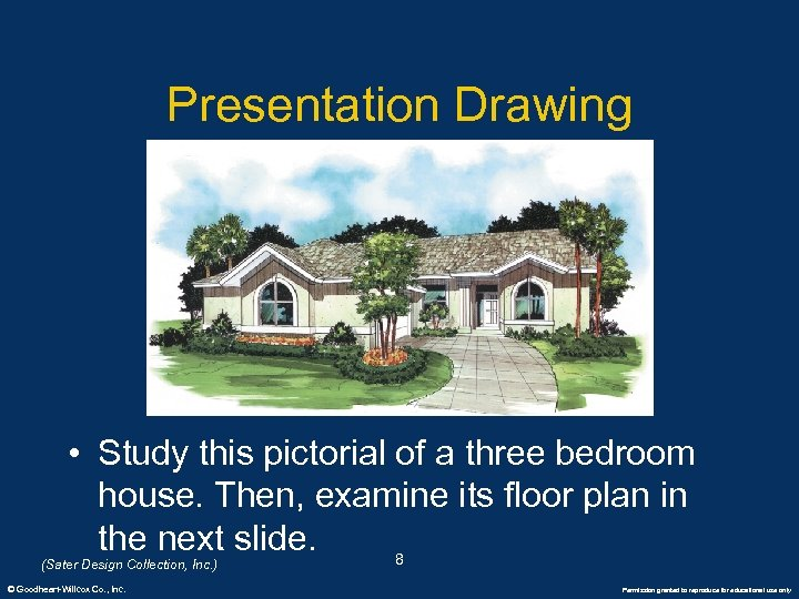 Presentation Drawing • Study this pictorial of a three bedroom house. Then, examine its