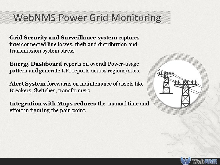 Web. NMS Power Grid Monitoring Grid Security and Surveillance system captures interconnected line losses,