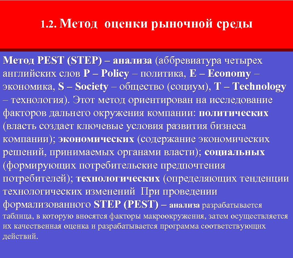 1. 2. Метод оценки рыночной среды Метод PEST (STEP) – анализа (аббревиатура четырех английских