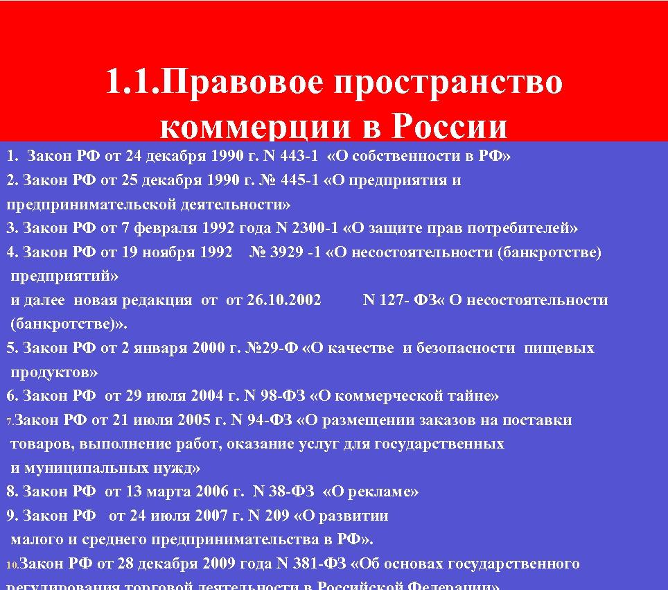 1. 1. Правовое пространство коммерции в России 1. Закон РФ от 24 декабря 1990
