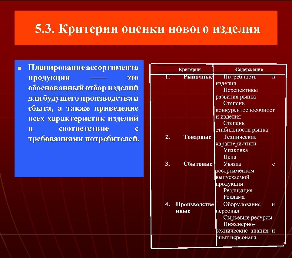 5. 3. Критерии оценки нового изделия n Планирование ассортимента продукции —— это обоснованный
