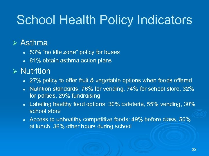 "School Health Policy Indicators Ø Asthma l l Ø 53% ""no idle zone"" policy"