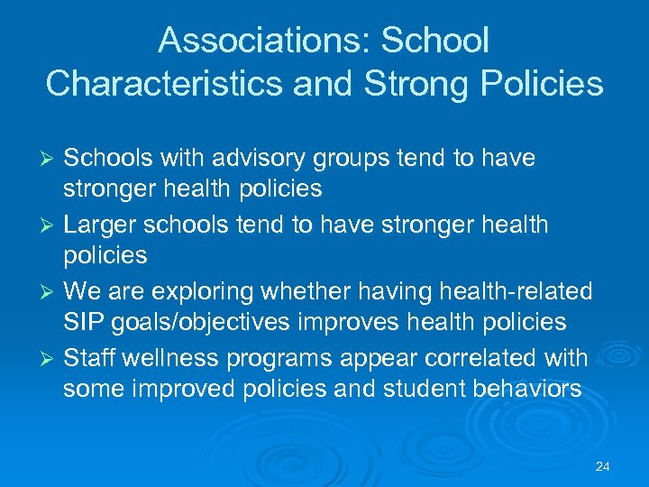 Associations: School Characteristics and Strong Policies Schools with advisory groups tend to have stronger