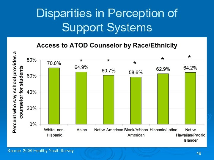Disparities in Perception of Support Systems Source: 2006 Healthy Youth Survey 48
