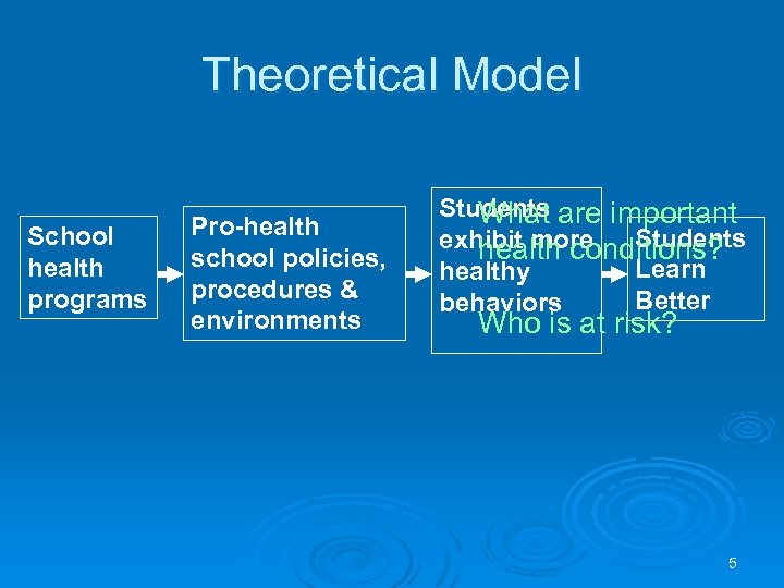 Theoretical Model School health programs Pro-health school policies, procedures & environments Students are important