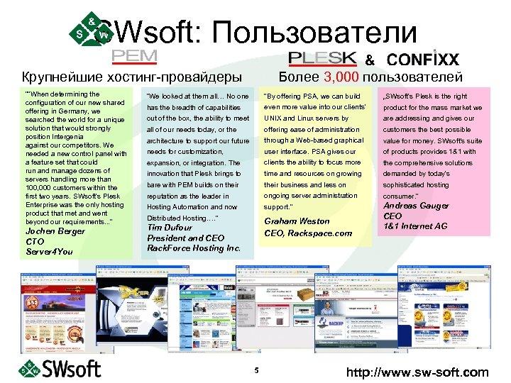 """SWsoft: Пользователи & Более 3, 000 пользователей Крупнейшие хостинг-провайдеры """""""
