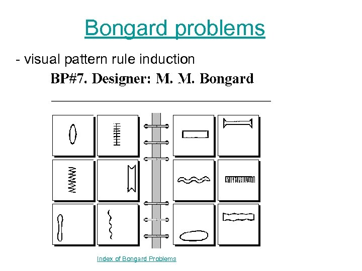 Bongard problems - visual pattern rule induction Index of Bongard Problems