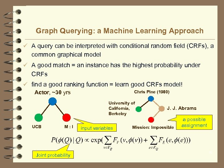 Graph Querying: a Machine Learning Approach ü A query can be interpreted with conditional