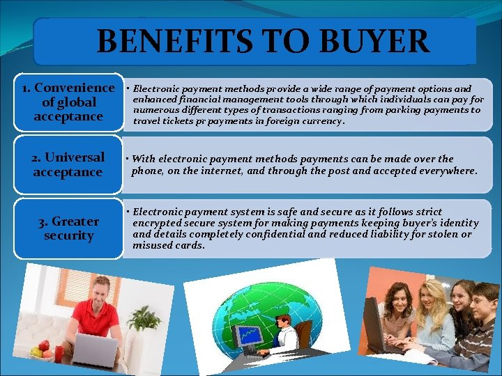 BENEFITS TO BUYER 1. Convenience of global acceptance • Electronic payment methods provide a