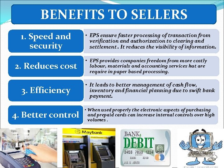 BENEFITS TO SELLERS 1. Speed and security 2. Reduces cost • EPS ensure faster