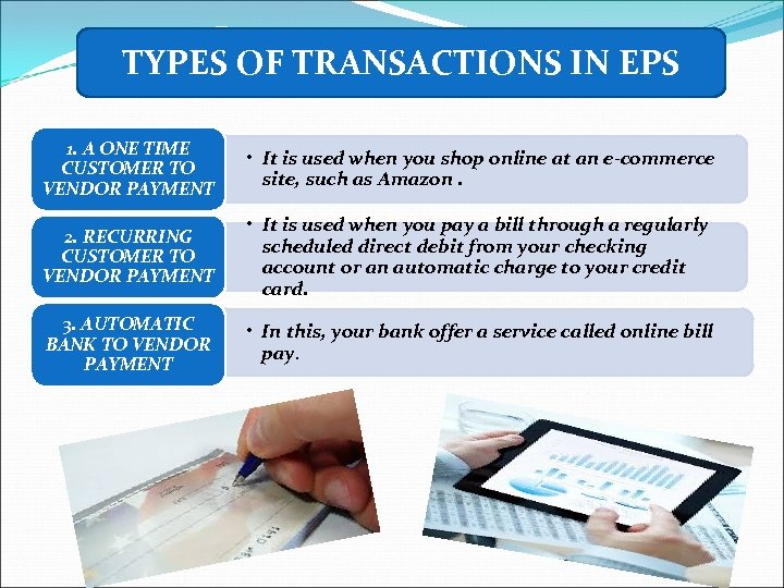 TYPES OF TRANSACTIONS IN EPS 1. A ONE TIME CUSTOMER TO VENDOR PAYMENT •