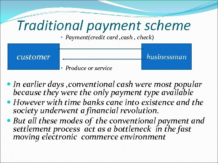 Traditional payment scheme • Payment(credit card , cash , check) customer businessman • Produce