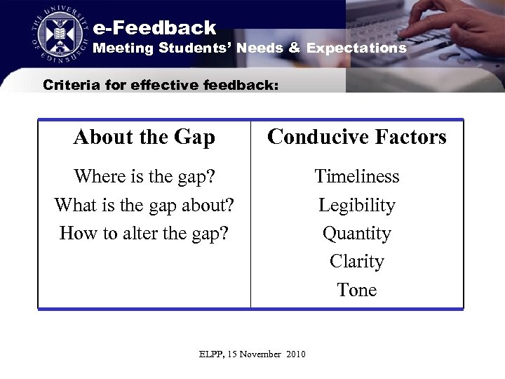 e-Feedback Meeting Students' Needs & Expectations Criteria for effective feedback: About the Gap Conducive