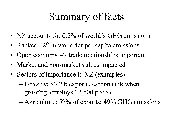 Summary of facts • • • NZ accounts for 0. 2% of world's GHG