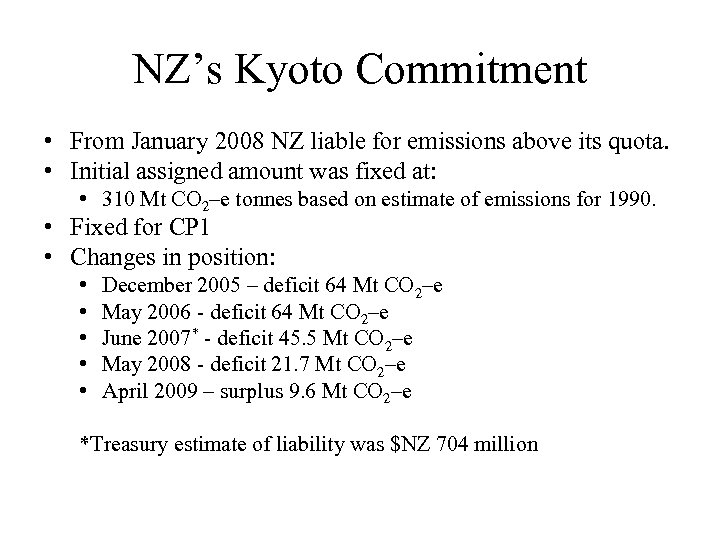 NZ's Kyoto Commitment • From January 2008 NZ liable for emissions above its quota.
