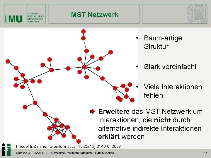 MST Netzwerk • Baum-artige Struktur • Stark vereinfacht • Viele Interaktionen fehlen Erweitere das