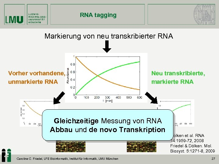 RNA tagging Markierung von neu transkribierter RNA Vorher vorhandene, unmarkierte RNA Neu transkribierte, markierte