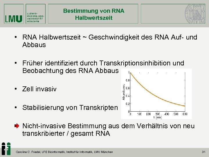 Bestimmung von RNA Halbwertszeit • RNA Halbwertszeit ~ Geschwindigkeit des RNA Auf- und Abbaus