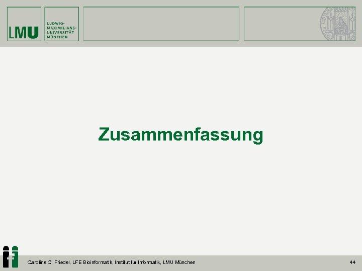 Zusammenfassung Caroline C. Friedel, LFE Bioinformatik, Institut für Informatik, LMU München 44