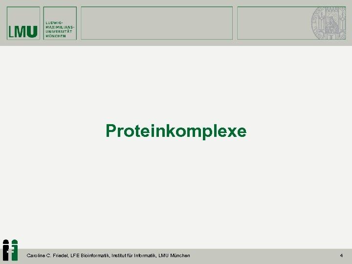 Proteinkomplexe Caroline C. Friedel, LFE Bioinformatik, Institut für Informatik, LMU München 4