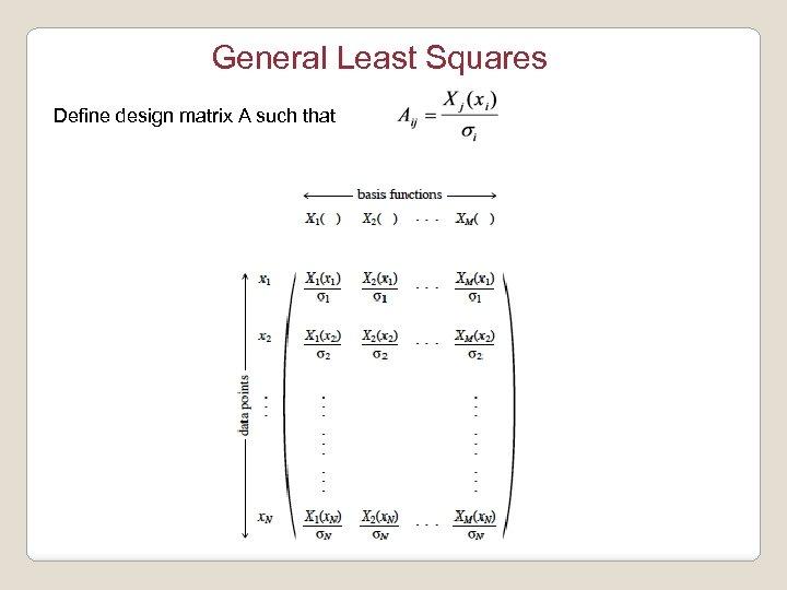 General Least Squares Define design matrix A such that