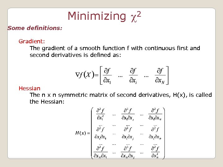 Minimizing c 2 Some definitions: Gradient: The gradient of a smooth function f with