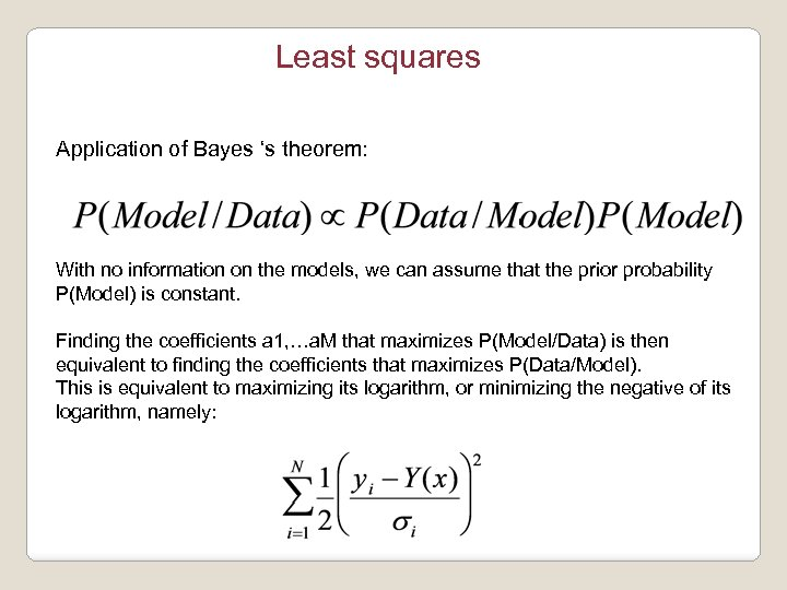 Least squares Application of Bayes 's theorem: With no information on the models, we