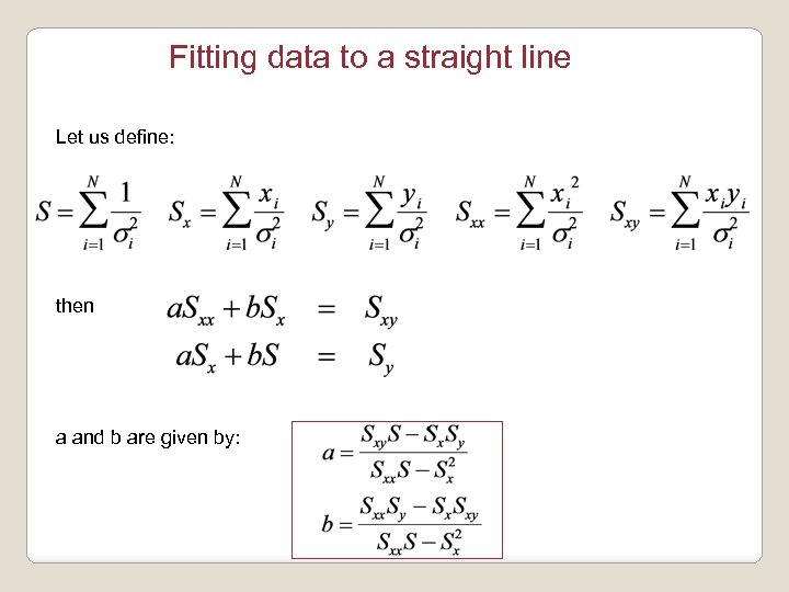 Fitting data to a straight line Let us define: then a and b are