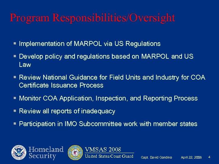 MARPOL RECEPTION FACILITIES USCG CERTIFICATE OF ADEQUACY COA