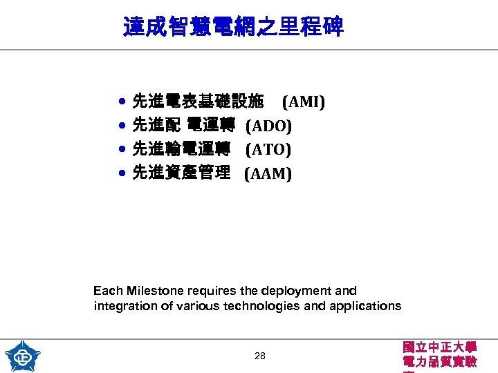 達成智慧電網之里程碑 • 先進電表基礎設施 (AMI) • 先進配 電運轉 (ADO) • 先進輸電運轉 (ATO) • 先進資產管理 (AAM)