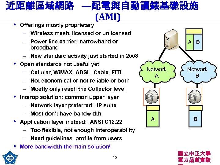 近距離區域網路 —配電與自動讀錶基礎設施 (AMI) • • • Offerings mostly proprietary – Wireless mesh, licensed or