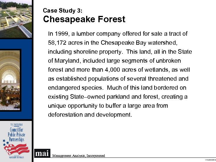 Case Study 3: Chesapeake Forest In 1999, a lumber company offered for sale a