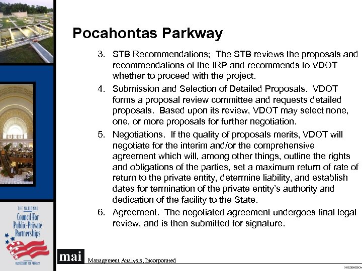 Pocahontas Parkway 3. STB Recommendations; The STB reviews the proposals and recommendations of the