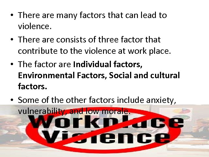 the many factors that contribute to violent crimes at work Among 3,743 individuals with bipolar disorder, 84% committed violent crimes compared to 35% of the general population in sweden of 8,003 individuals with schizophrenia in sweden, 132% committed at least one violent crime compared with 53% of the general population.