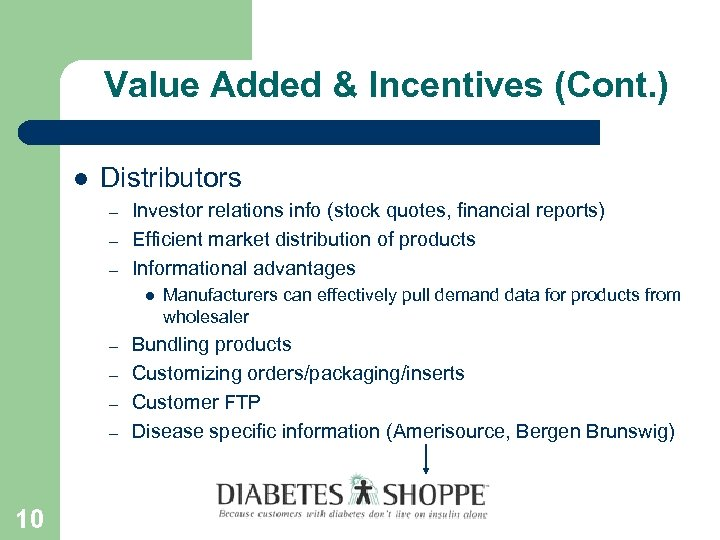 Value Added & Incentives (Cont. ) l Distributors – – – Investor relations info