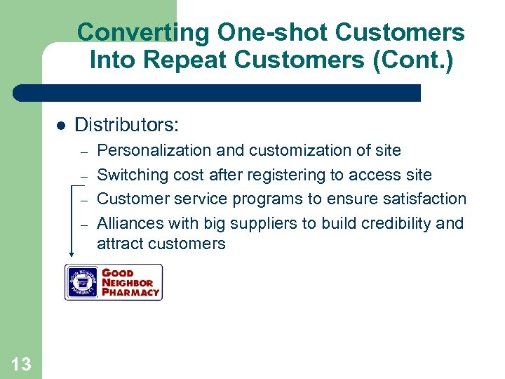 Converting One-shot Customers Into Repeat Customers (Cont. ) l Distributors: – – 13 Personalization