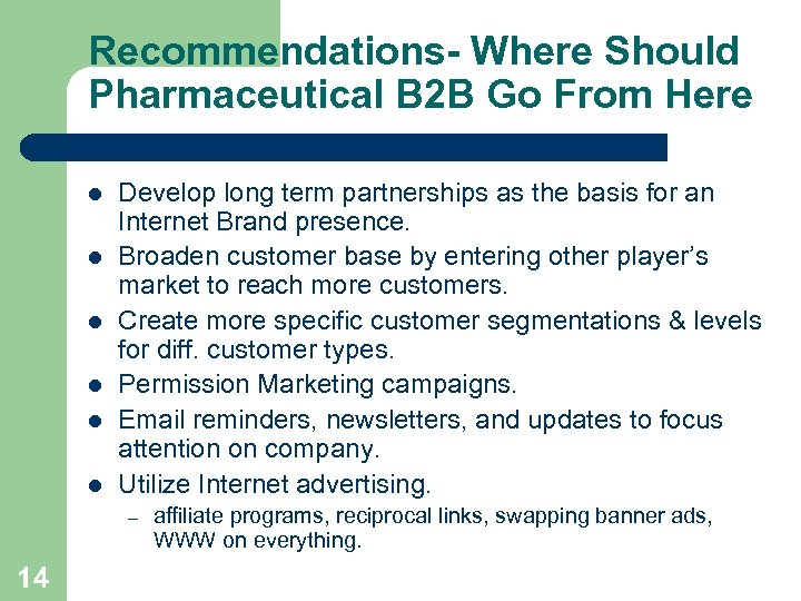 Recommendations- Where Should Pharmaceutical B 2 B Go From Here l l l Develop