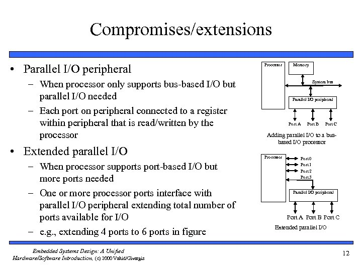 Compromises/extensions • Parallel I/O peripheral – When processor only supports bus-based I/O but parallel