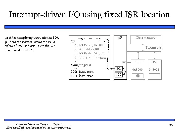 Interrupt-driven I/O using fixed ISR location 3: After completing instruction at 100, P sees