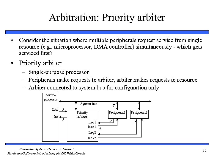Arbitration: Priority arbiter • Consider the situation where multiple peripherals request service from single