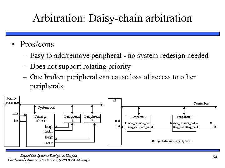 Arbitration: Daisy-chain arbitration • Pros/cons – Easy to add/remove peripheral - no system redesign