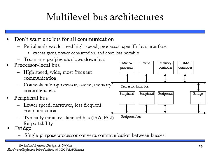 Multilevel bus architectures • Don't want one bus for all communication – Peripherals would