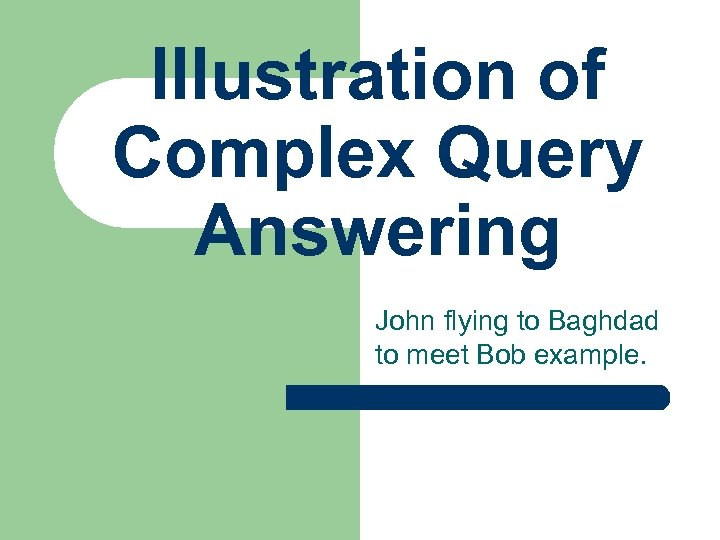 Illustration of Complex Query Answering John flying to Baghdad to meet Bob example.