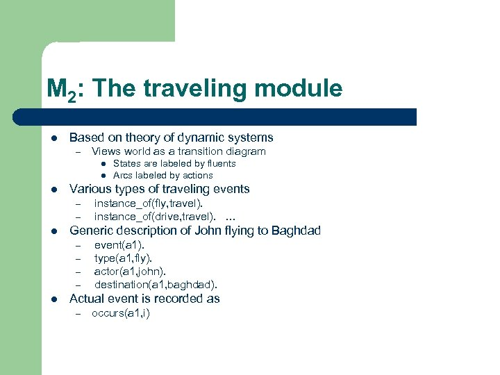 M 2: The traveling module l Based on theory of dynamic systems – Views
