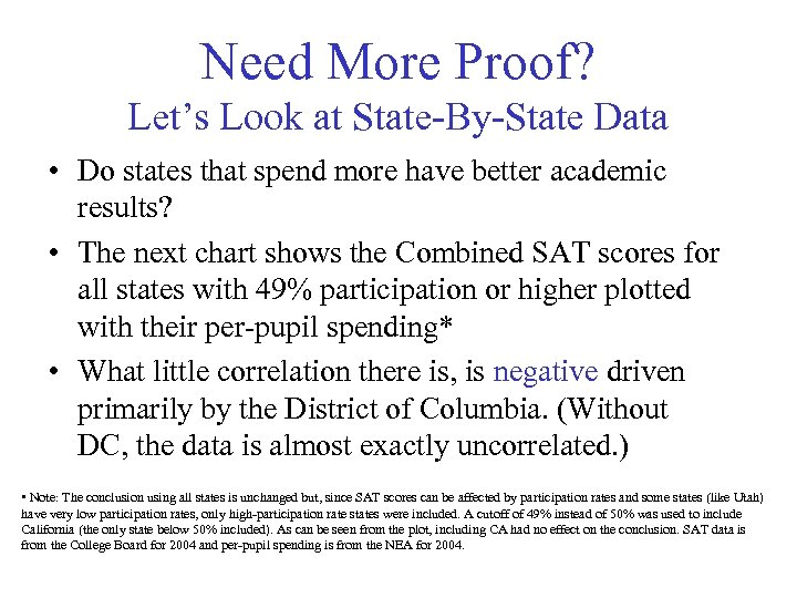 Need More Proof? Let's Look at State-By-State Data • Do states that spend more